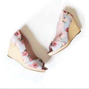 Toms Floral Canvas Espadrille Peep Toe Wedges